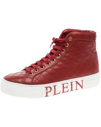 Philipp Plein - Quilted Leather High Top Sneakers - Lyst