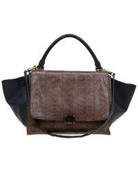 Céline - Python Leather Medium Trapeze Bag - Lyst