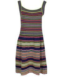 M Missoni - Textured Striped Knit Sleeveless Dress M - Lyst