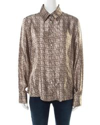 b96b3db512e2f3 Burberry - London Beige Logo Printed Silk Long Sleeve Button Front Shirt Xl  - Lyst