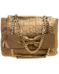 Carolina Herrera - Bronze Monogram Leather Audrey Shoulder Bag - Lyst