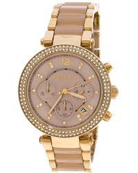 Michael Kors - Pink Dial Yellow Plated Steel Acetate Parker Mk 6326 Women's Wristwatch 39 Mm - Lyst
