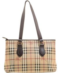 5ba3c0b9e05d Burberry -   Dark Brown Haymarket Check Pvc And Leather Regent Tote - Lyst