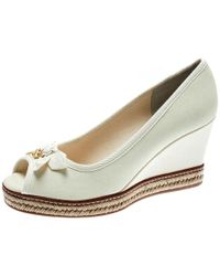 1aa19459e Tory Burch - Ivory Canvas Jackie Espadrille Wedge Pumps Size 37 - Lyst