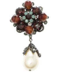 Chanel Multicolour Faux Pearl Crystal & Bead Silver Tone Brooch - Metallic