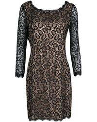 Diane von Furstenberg - Black Lace Zarita Embellished Dress M - Lyst