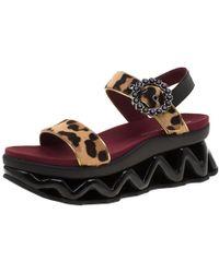 Marc By Marc Jacobs - Beige Leopard Print Calf Hair Ninja Wave Platform Sandals Size 38 - Lyst