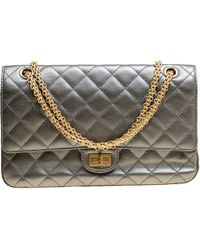 d892e651a63087 Chanel - Gray Quilted Leather Reissue 2.55 Classic 226 Flap Bag - Lyst