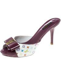 Louis Vuitton - Patent Leather And Monogram Canvas Peep Toe Slides - Lyst