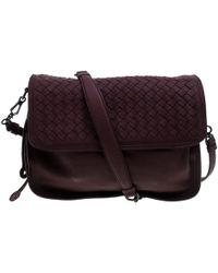 ada592844c37 Bottega Veneta - Intrecciato Leather Drawstring Flap Shoulder Bag - Lyst
