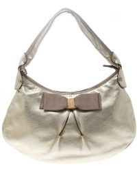 Ferragamo - Metallic Light Gold Leather Miss Vara Hobo - Lyst