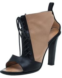Céline - And Beige Leather Lace Up Peep Toe Ankle Booties - Lyst