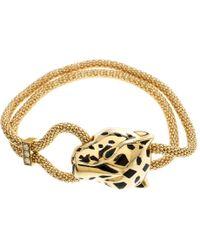 Cartier - Panthere De Diamond Garnet & Onyx 18k Yellow Gold Bracelet - Lyst