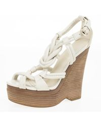 Gucci - Off Leather Kotao Wedge Sandals - Lyst