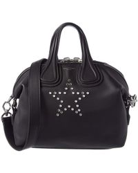 Givenchy Black Leather Small Star Mirror Rivets Nightingale Top Handle Bag