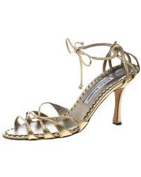 6fd5ef1c73c Manolo Blahnik - Metallic Gold Leather Strappy Ankle Wrap Sandals Size 38 -  Lyst