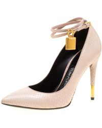 Tom Ford - Snakeskin Leather Ankle Lock Pointed Toe Court Shoes - Lyst