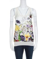 8ff0416809b4 Gucci Printed Lace Tank Top in White - Lyst