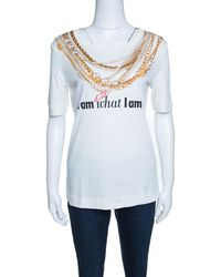 Moschino - 30th Anniversary Off Necklace And Slogan Print Cotton T-shirt S - Lyst