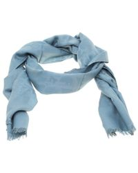 Dior - Blue Silk And Wool Issimo Patterned Fringed Edge Scarf - Lyst