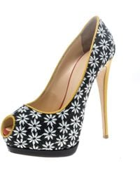 bab5dbc218d Giuseppe Zanotti - Multicolor Fabric And Leather Peep Toe Platform Pumps  Size 39 - Lyst