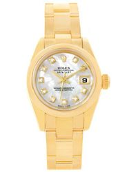 Rolex - Mother Of Pearl 18k Yellow Gold Datejust President Women's Wristwatch 26mm - Lyst