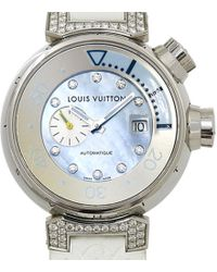 Louis Vuitton - Mother Of Pearl Stainless Steel Tambour Women's Wristwatch 35mm - Lyst