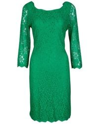 Diane von Furstenberg - Green Zarita Long Sleeve Lace Dress L - Lyst