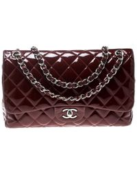 86ab8a7f6a62 Chanel - Maroon Quilted Patent Leather Jumbo Classic Double Flap Bag - Lyst