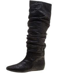 Dior - Ruched Cannage Leather Knee High Boots - Lyst