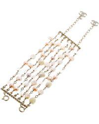 Chanel - Cc Faux Pearl And Rose Quartz Multi Strand Bracelet - Lyst
