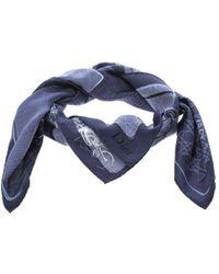 Dior - Navy Blue Bag Print Silk Square Scarf - Lyst