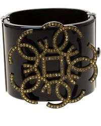 Chanel - Cc Crystal Embellished Black Tone Wide Cuff Bracelet - Lyst
