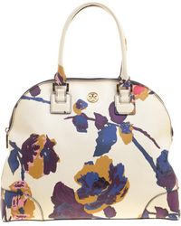 6cd22ebfa879 Tory Burch - Off White  Floral Print Large Robinson Dome Satchel - Lyst