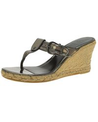 Burberry - Leather And Novacheck Canvas Espadrille Thong Wedge Sandals - Lyst