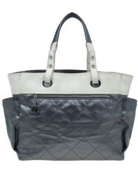 Chanel - Grey Coated Canvas Large Quilted Paris Biarritz Tote - Lyst
