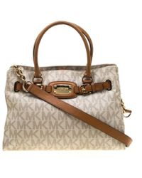 ded4e35338b4 MICHAEL Michael Kors - Cream/brown Coated Canvas And Leather East West Hamilton  Tote -