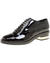 Chanel - Patent Leather Cc Lace Up Oxfords - Lyst