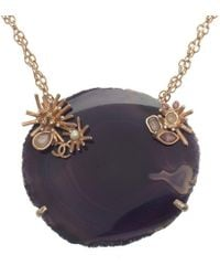 Chanel - Cc Starburst & White Banded Agate Pendant Necklace - Lyst