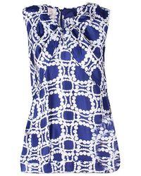 Marni - & White Print Sleeveless Silk Top S - Lyst