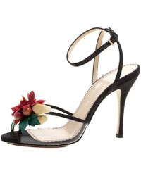 Charlotte Olympia - Canvas And Pvc Tropicana Embellished Sandals - Lyst