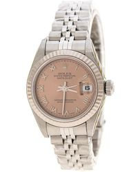 Rolex - Pink Stainless Steel Oyster Perpetual Datejust 79174 Women's Wristwatch 26 Mm - Lyst
