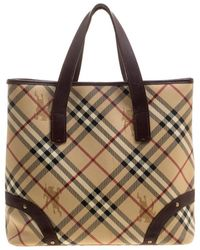 4dd45410bb99 Burberry -  brown Haymarket Check Canvas And Leather Tote - Lyst
