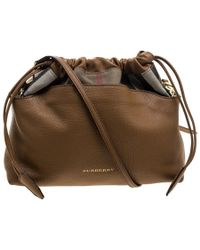 Burberry - Camel House Check Canvas And Leather Little Crush Crossbody Bag - Lyst