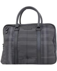 Burberry - Check Nylon/leather Briefcase - Lyst