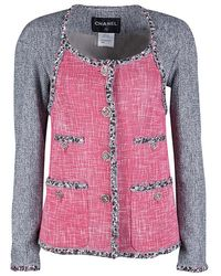 Chanel - Contrast Panel Detail Textured Jacket S - Lyst
