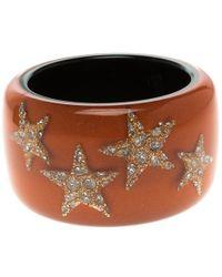 Roberto Cavalli - Crystal Star Resin Wide Cuff Bangle 20cm - Lyst