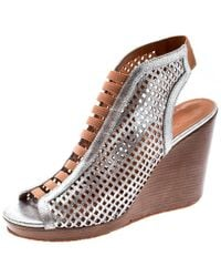 Marc By Marc Jacobs - Metallic Silver Perforated Leather Susanna Wedge Platform Sandals Size 40.5 - Lyst