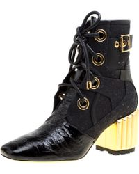 Dior - Black Canvas And Crinkled Leather Glorious Sculpted Block Heel Ankle Boots Size 35.5 - Lyst