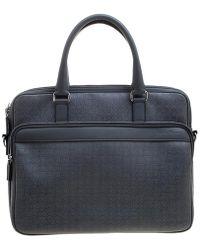 Ferragamo Grey Embossed Leather Laptop Bag